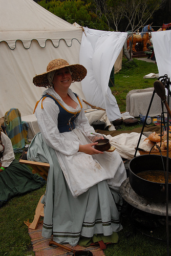One of my earlier outfits, cooking over a fire at the San Francisco Fog Faire